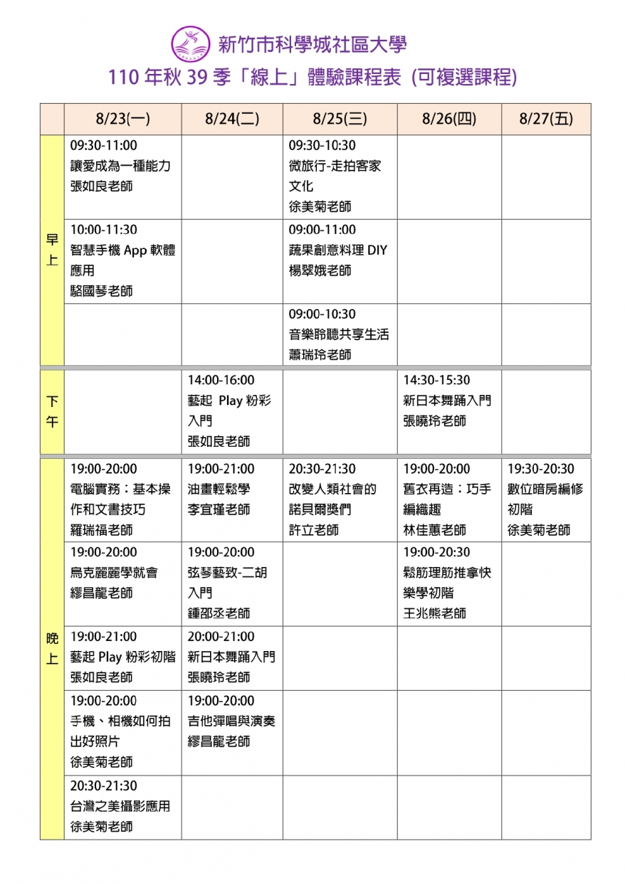 【課程體驗】  科學城社區大學  110年秋39季「線上」體驗課程圖片1